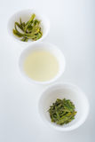 Green tea in three forms: dry, infusion and leaves after brewing Stock Photo