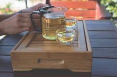 Green tea on the traditional desk Stock Photos