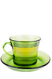 Green tea in transparent cup isolated on white Royalty Free Stock Images