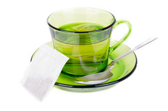 Green tea in transparent cup isolated on white Royalty Free Stock Photos