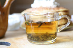Green tea in a transparent cup Royalty Free Stock Photos
