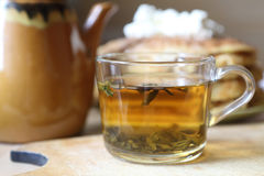 Green tea in a transparent cup Royalty Free Stock Photo