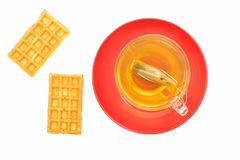 Green tea and two waffles Royalty Free Stock Image