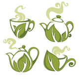 Green tea. Vector collection of forms, symbols and images Stock Images