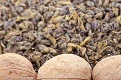Green tea and walnuts Royalty Free Stock Image