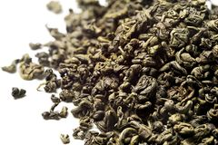 Green tea on white background. Top view. Close up. High resolution stock photo