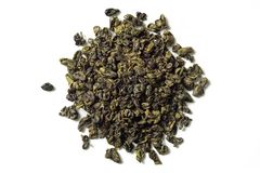 Green tea on white background. Top view. Close up. High resolution royalty free stock photos