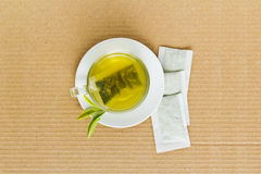 Green tea in a white cup Stock Photography