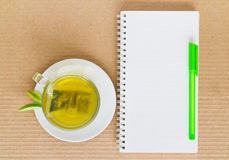 Green tea in a white cup Royalty Free Stock Images