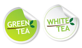 Green tea and White tea stickers Stock Photo