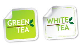 Green tea and White tea stickers Royalty Free Stock Image