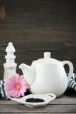 Green tea, white teapot Royalty Free Stock Image
