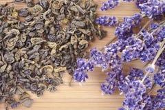 Green Tea With Lavender Stock Photos