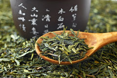 Green tea on wooden spoon Stock Photography