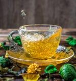 Green tea on wooden table Stock Photo