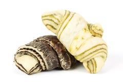 Green Tea and Zebra pattern croissant Stock Photos