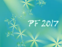 Green and teal PF 2017 card. Green and teal PF 2017, good luck wishing card for New Year based on an elegant blended fractal background with simple flowers of Royalty Free Stock Photo