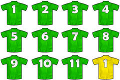 Green team shirts Royalty Free Stock Photos