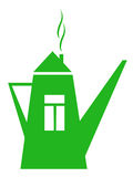 Green teapot. Green teapot-house.  The icon on white. Vector illustration Royalty Free Stock Image