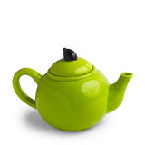 Green teapot isolated on white background royalty free stock photos