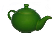 Green teapot. On a white background Stock Photos