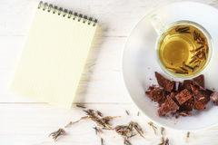 Green teas, chocolates and note pad Royalty Free Stock Photos