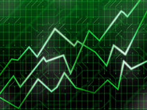 Green tech markets. Increasing line graphs on a circuitry background Stock Image