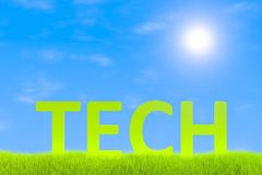 Green technologies. Green grass landscape background 3d illustration Royalty Free Stock Images