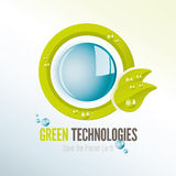 Green technologies icon with water drops Stock Images