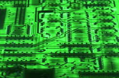 Green Technology #2. Backside of circuit board at angle Stock Image