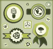 Green technology. Set of eco labels and elements for green technology royalty free illustration