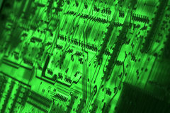 Green Technology #3. Backside of circuit board tilted at angle Stock Images