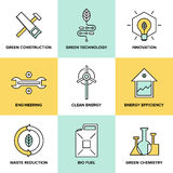 Green technology and clean energy flat icons set Royalty Free Stock Photos