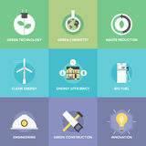 Green technology and innovations flat icons set Royalty Free Stock Image