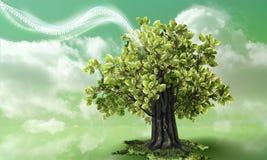 Green technology waving into nature vector illustration