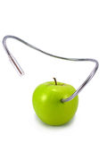 Green technology worm. Green apple with techno worm , biotechnology Royalty Free Stock Photography