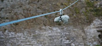 Green teddy bear on a zipwire stock photography