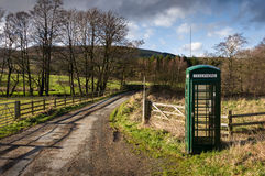 Green Telephone Box, Fangdale Beck, Bilsdale, North Yorkshire Royalty Free Stock Images
