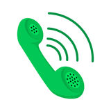 Green telephone receiver cartoon icon Royalty Free Stock Images