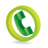 Green telephone symbol Stock Photography