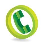 Green telephone symbol. 3D green telephone symbol icon - illustration Stock Photography