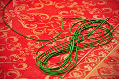 Green television cable Royalty Free Stock Photography