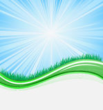 Green template. Abstract wave background with grass Royalty Free Stock Photos