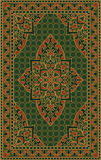 Green template for carpet. Oriental abstract ornament. Colorful template for carpet, cover, textile and any surface. Ornamental green pattern with filigree Stock Photography