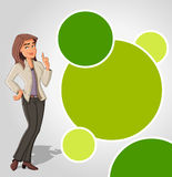 Green template with cartoon woman Stock Photos