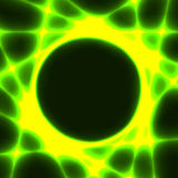 Green template with dark circle and laser beams. Green and yellow template with dark circle for text and laser beams like sun rays stock illustration