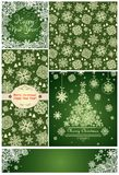 Green templates with snowflakes for winter holidays Royalty Free Stock Images