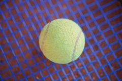 Green tennis ball on a blue grid. Sport concept. royalty free stock image