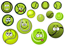 Green tennis balls mascots cartoon characters Royalty Free Stock Images
