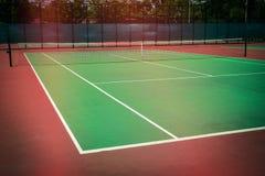 Green tennis court. Sport background Stock Photo